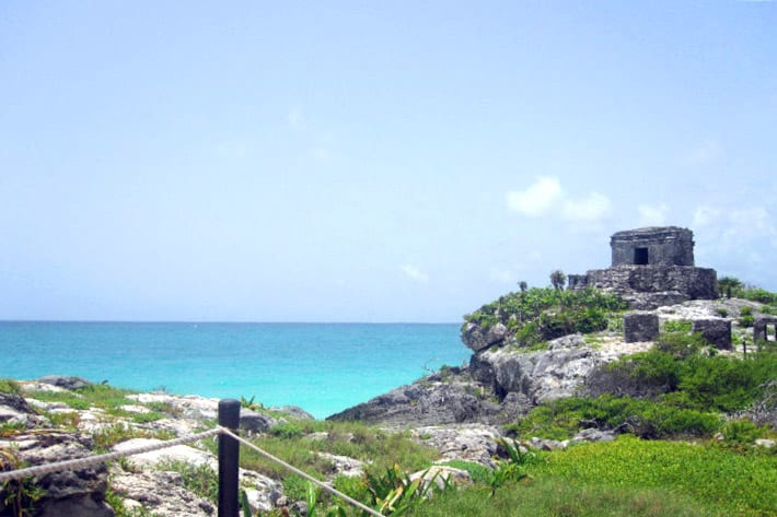 View on the Tulum Ruins near to the blue ocean