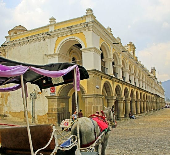 Colonial building and a carriage pull by a horse passing through in the central park of Antigua Guatemala
