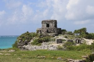 View of the ruins of the archaeological site Tulum in Mexico