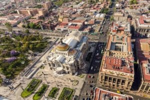 Aerial view of the Palace of Fine Arts in Mexico City. Mexico Guatemala Tour Package