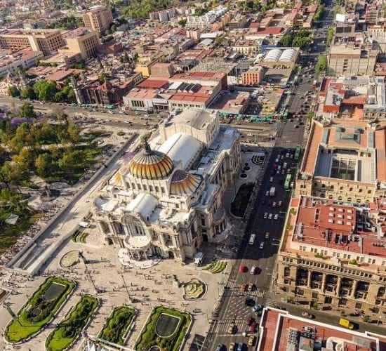Aerial view of the Palace of Fine Arts. Mexico Guatemala Holiday Tour