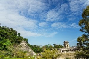 Temple of Inscriptions and the Palace in the Mayan Ruins of Palenque in Chiapas, Mexico.