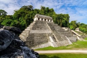 The Mayan temple of the Inscriptions in the Mayan City of Palenque, Mexico. Maya tours in Mexico.