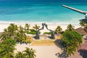 The statue Mayan Gateway in Playa del Carmen, Mexico.