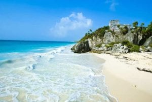 The Mayan ruins of Tulum in the Caribbean ocean, Mexico. Mexico Holidays