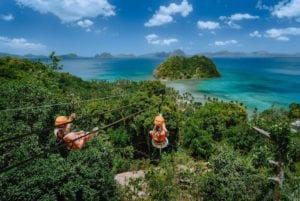 Zip line tour in the Caribbean.