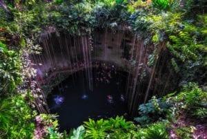 Cenote, cave lake close to Chichen Itza, Mexico. Adventure trips