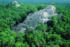 The pyramid La Danta in the Mayan City of El Mirador, Guatemala. Helicopter tours