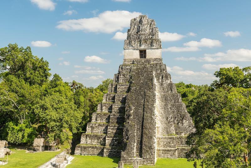Jaguar temple in the main plaza of the Mayan ruins of Tikal, Guatemala. Trips to Guatemala