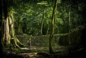 Jungle trek in Mayan jungle ruins in Mexico. Adventure Travel