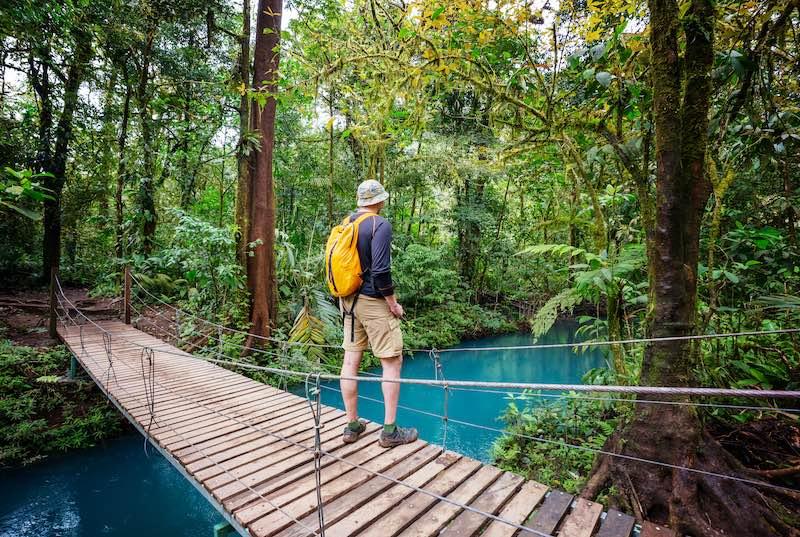 Hanging bridge during a jungle hike in Costa Rica. Costa Rica hikes