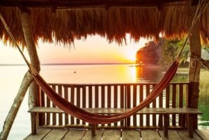 Sunset in Lake Peten, Flores Island. Guatemala Family Vacation Package