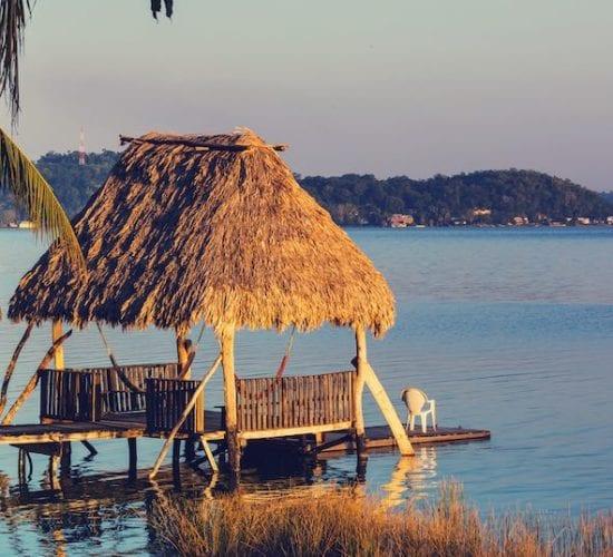 Dock in Lake Peten. Jungle boat tours. Mayan Treasures