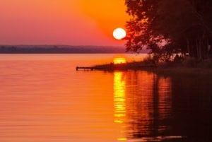 Sunset in Lake Peten, Guatemala.