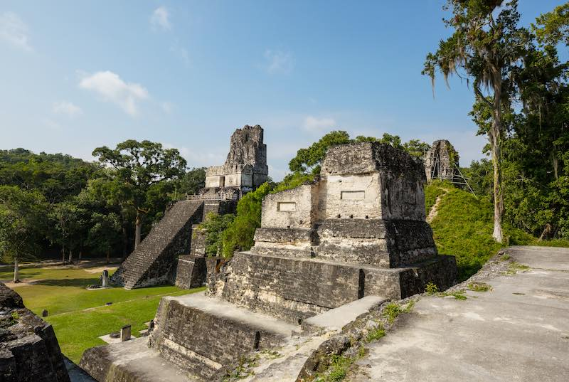 Temple Two in the main plaza of the Mayan City of Tikal. Central America Vacations