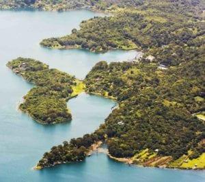 Lake Atitlan shoreline town Santiago, Guatemala, Central America. Guatemala