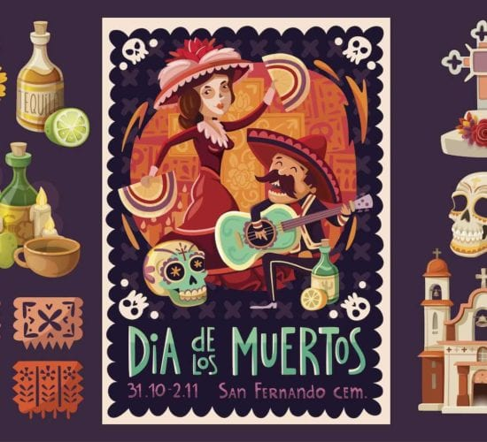 Poster of the colorful celebration of day of the dead. Food, music and traditions of Mexico.