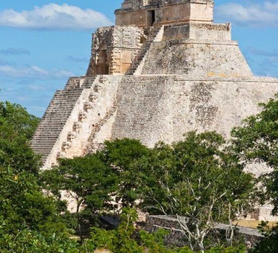 Ancient mayan pyramid (Pyramid of the Magician, Adivino ) in Uxmal, Mérida, Yucatán, Mexico.