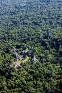 Aerial view of the Mayan ruins of Tikal and the surrounding jungle. Guatemala.