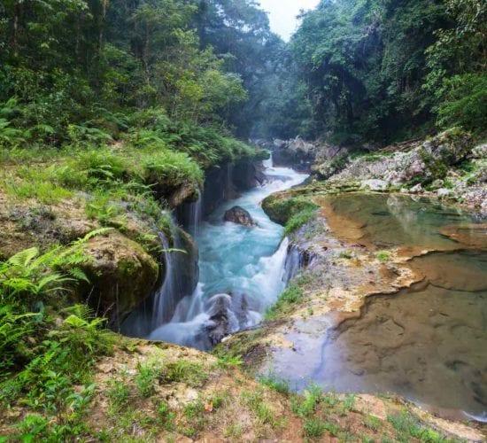Beautiful natural pools in Semuc Champey, Guatemala, Central America. Guatemala Travel.