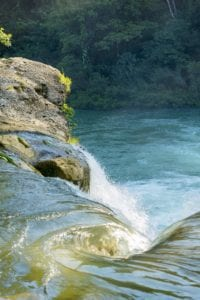 Water flowing from waterfall in forest of Rio Blanco National Park in Toledo Belize. Adventure Tours Belize