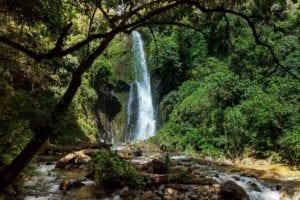 Majestic waterfall in the rainforest jungle of Costa Rica. Jungle Hike