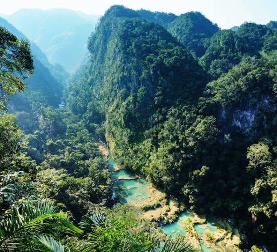 View of Semuc Champey from the lookout of this National Park. Guatemala and Honduras trip.