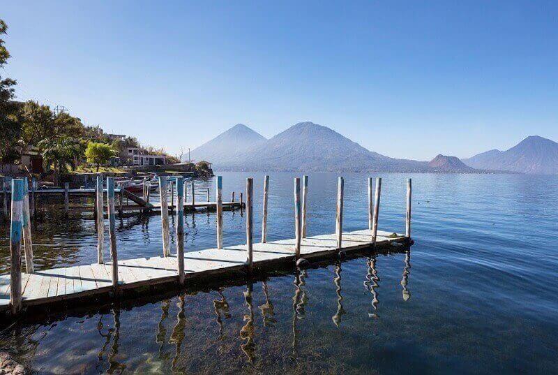 Beautiful Lake Atitlan surrounding by amazing volcanoes. Guatemala