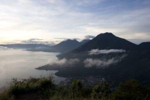 View from the Nariz del Maya mountain at Lake Atitlan, Guatemala