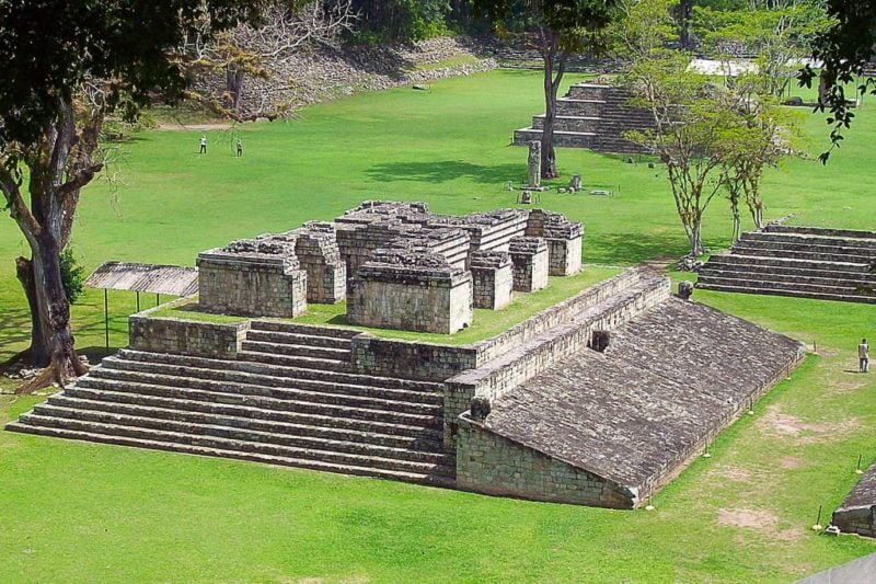 View of the ball game in the archaeological site of Copan. Honduras Tour Packages